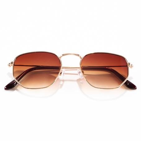 Óculos de Sol Hexagonal Cor: Marrom