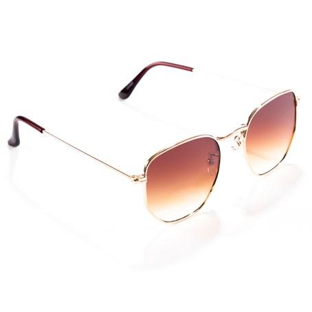 Óculos de Sol Hexagonal Marrom