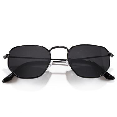 Produto Óculos de Sol Hexagonal Preto